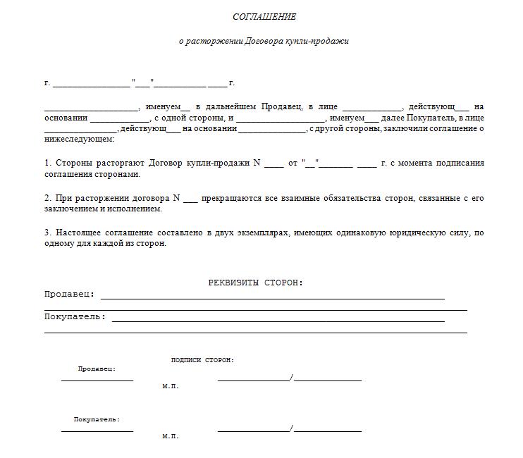 Соглашение об отказе от договора купли-продажи